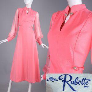 M Vintage 60s Miss Rubette Coral Cocktail Dress